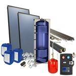 Afbeelding van set: 'O4SP2-300S2' - 4plus 2 x vlakkeplaatcollector voor schuindak 300 liter solarboiler