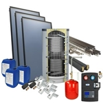 Afbeelding van set: 'O4PP3-400H1' - 4plus 3 x vlakkeplaatcollector voor schuindak 400 liter hygiëneboiler