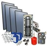 Afbeelding van set: 'O4PP4-800H1' - 4plus 4 x vlakkeplaatcollector voor schuindak 800 liter hygiëneboiler